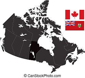 Manitoba - A detailed map of Canada highlighting Manitoba