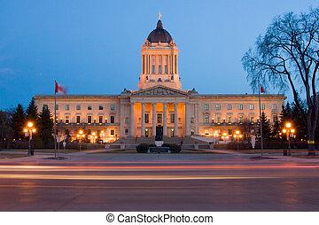 Manitoba Legislative Building at dusk in Winnipeg, Manitoba, Canada