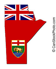 Manitoba map flag - National flag of Manitoba on map of...