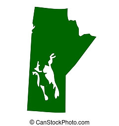 Map of Manitoba province or territory in Canada, isolated on white background.