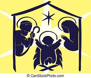 manjedoura, bebê, abstratos, jesus