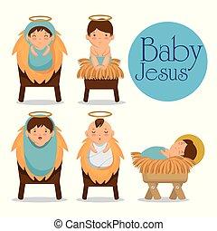 manjedoura, jesus, feliz, bebê, natal, mentindo