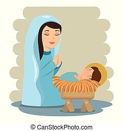 manjedoura, jesus, feliz, bebê, natal, mentindo, maria