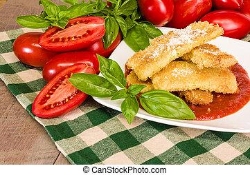 manjericão, jantar, abobrinha, parmesan