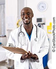 manlig, afrikansk, läkare, in, sjukhus