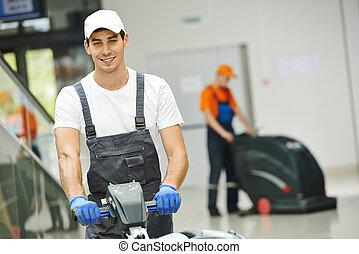 manlig, arbetare, rensning, affär, sal