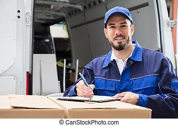 manlig, arbetare, skrift, på, skrivplatta