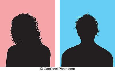 manlig, avatars, kvinnlig