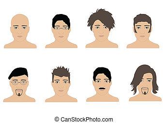 manlig, frisyrer