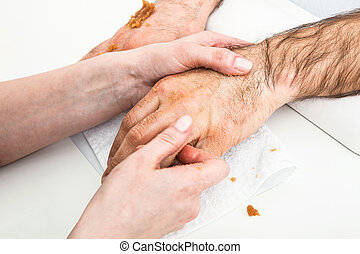 manlig, massera, hand