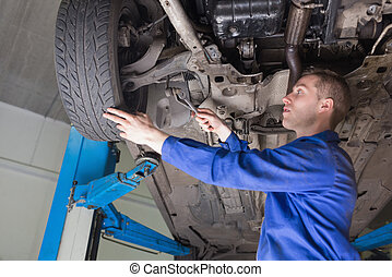manlig, mekaniker, reparation, bil