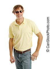 manlig, solglasögoner, tillfällig