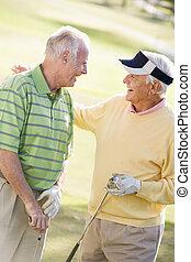 manlig, vänner, avnjut, a, lek av golf