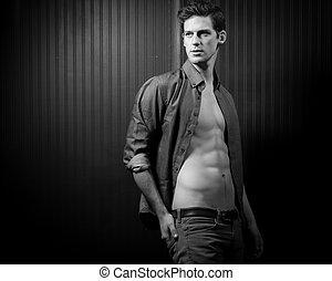 mann, abdominal, mittelteil, muskulös