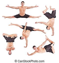 mann, akrobatik, gymnastisch