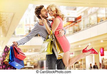 mann, alles, seine, kaufen, ehefrau