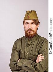 mann, angezogene , in, sowjetisches militär, uniform
