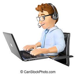mann, anruf- mitte, arbeitende , 3d