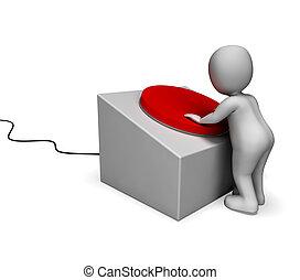 mann, anschieben, rote taste, ausstellung, kontrollieren