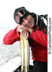 mann, auf, a, fahren feiertag schi