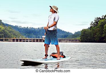 mann, auf, paddleboard
