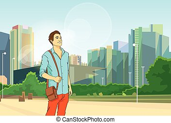 mann, aus, modern, stadt, cityscape, hintergrund