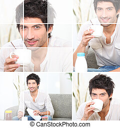mann, auslaufende milch, in, bohnenkaffee