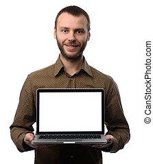mann, ausstellung, laptop-computer, mit, leerer schirm
