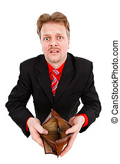 mann, ausstellung, leeren brieftasche