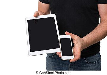 mann, ausstellung, tablette, vs, smartphone