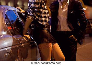 mann, auswählen aufwärts, a, prostituierte