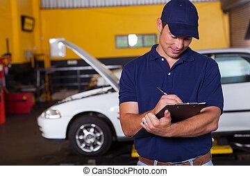 mann, auto, werkstatt, manager