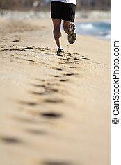 mann, beine, rennender , sand, von, a, sandstrand