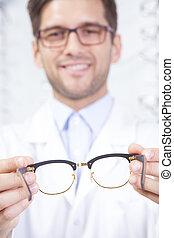 mann, besitz, brille