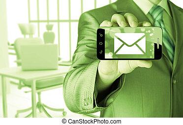 mann, besitz, smartphone, mit, eins, neu , nachricht, auf, a, schirm