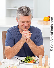 mann, beten, tisch