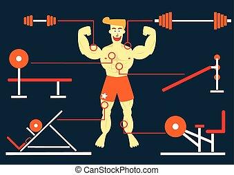 mann, bobybuilding, mit, seine, groß, muskel