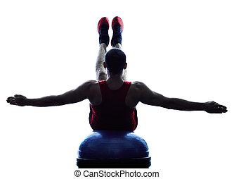 mann, bosu, gleichgewicht, trainer, übungen, fitness, silhouette