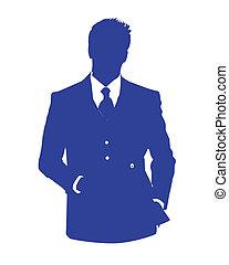 mann, buero, avatar, blaues