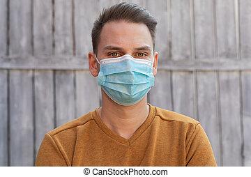 mann, chirurgisch, junger, maske