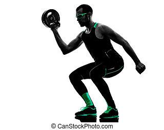 mann, crossfit, gewicht, scheibe, übungen, fitness, silhouette