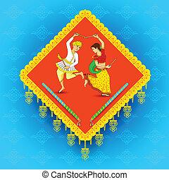 mann, dandiya, frau, nacht, tanzen