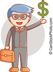 mann, dolar, geschäftsvorzeichen