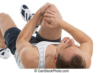 mann, empfinden schmerz, in, seine, knee., während, liegende , auf, seine, zurück