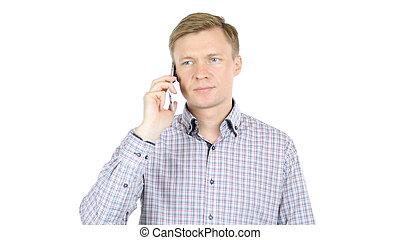 mann, ernst, sprechende , smartphone