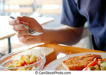 mann, essende, gesundes essen, ihm, ein, gasthaus
