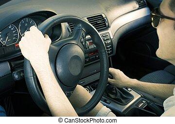 mann- fahren, auto