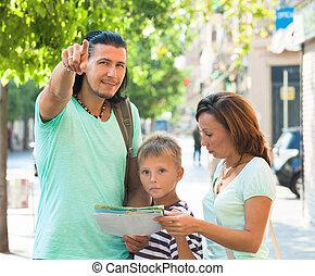 mann, familie, richtung, zeigen