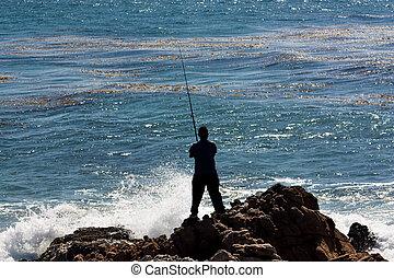 mann, fische, gegen, der, stürzen, ocean winkt