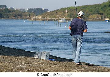 mann fischen, per, der, fluß